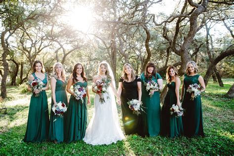 Texas winter wedding with green mismatched bridesmaid
