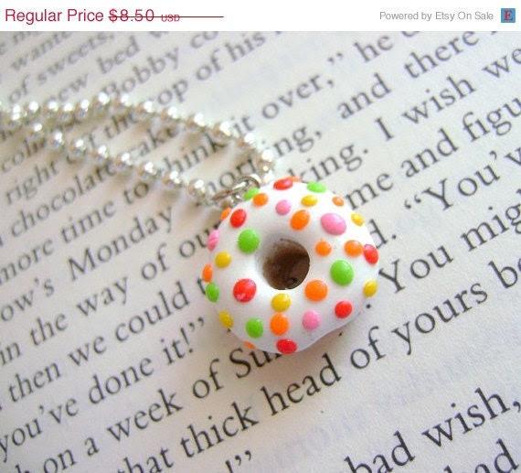 SALE Sprinkle Donut Necklace