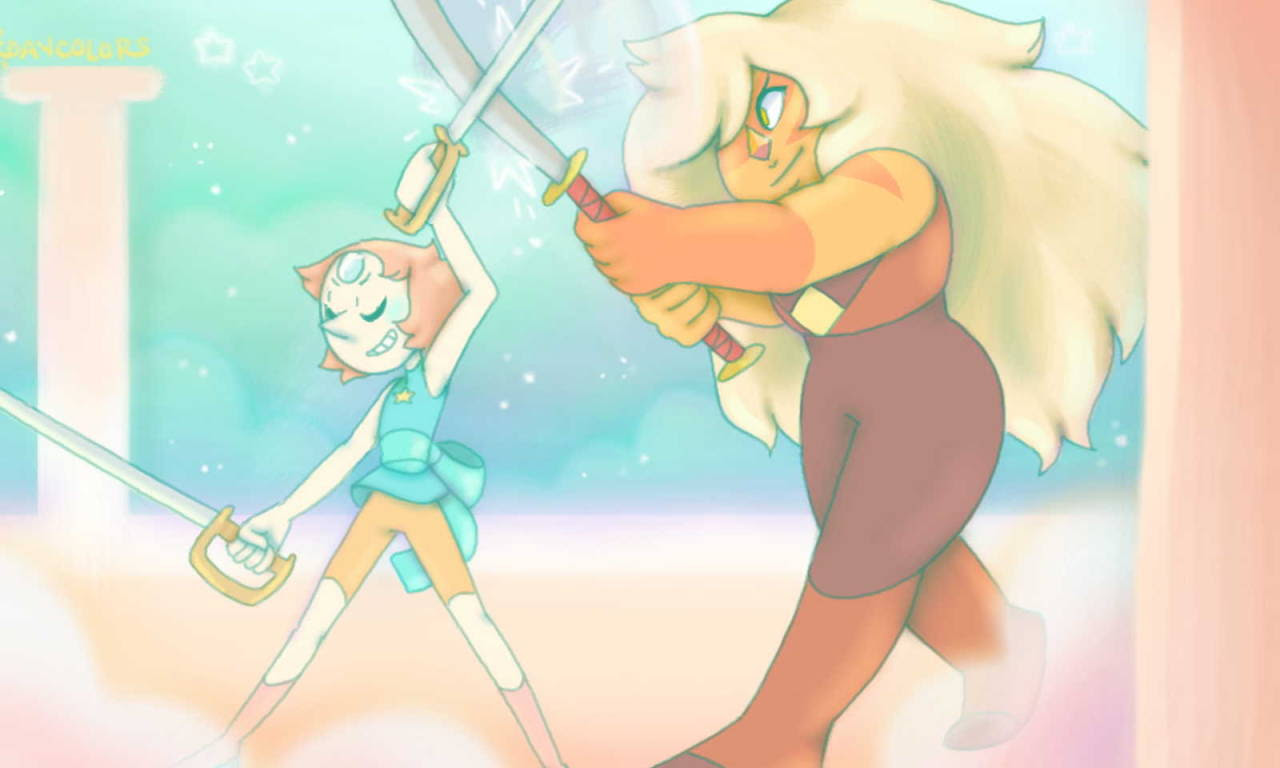 stingray2303 said: could you draw some jaspearl? Answer: I'm not sure if this counts? >< Sorry I know nothing about anatomy or swordfighting moves but Jasper with a katana would be really cool!