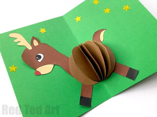 3D Reindeer Card DIY - Red Ted Art's Blog