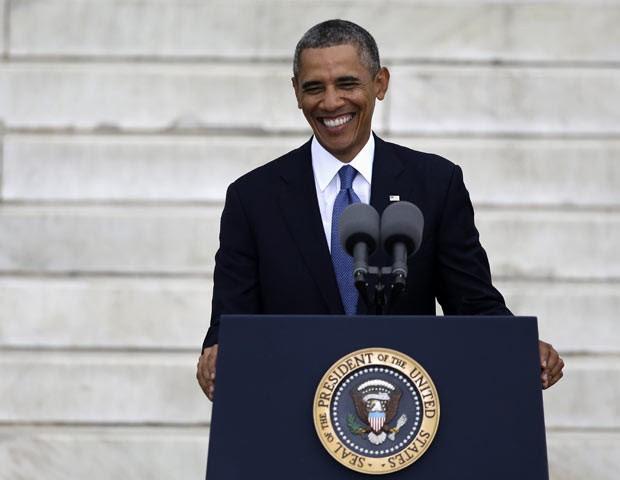 O presidente dos EUA, Barack Obama, discursa nesta quarta-feira (28) em Washington (Foto: AP)