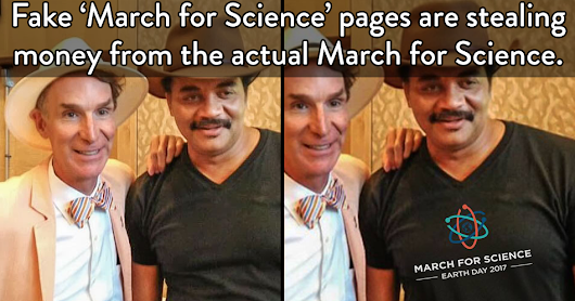 Fake 'March for Science' pages are stealing money from the actual March.