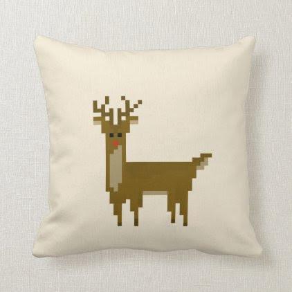 Geek Pixel Rudolf Reindeer Christmas Throw Pillow