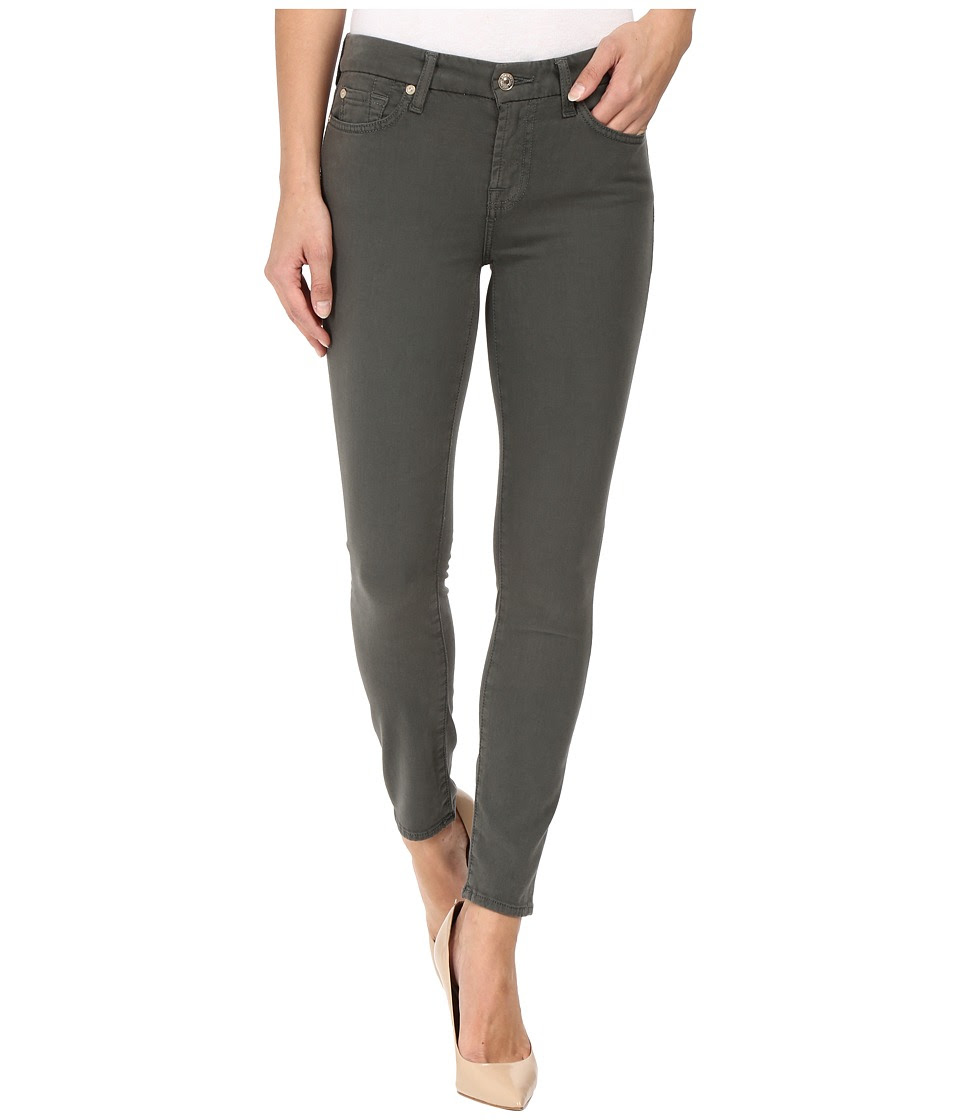 7 For All Mankind - The Ankle Skinny w\/ Contour Waist Band in Olive (Olive) Women's Jeans