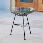 Sarcelles Modern Woven Wicker Patio Side Table with Glass Top by Corvus Grey