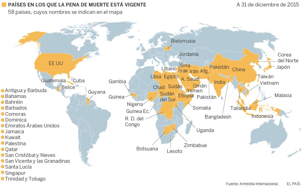 La pena de muerte aún se aplica en 58 países