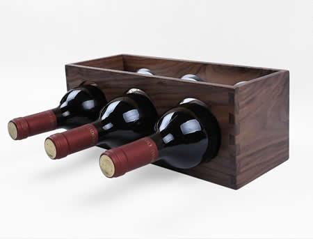 Black Walnut Wooden 3 Bottle Wine Rack Feelgift