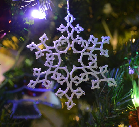Snowflake Beaded Ornament Winter Ice Handmade Tatted by HauteRevel