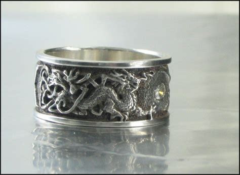 Men's Celtic Knotwork and Dragon Wedding Ring   Rings
