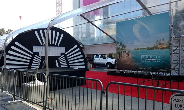 The red carpet tent for the ROGUE ONE: A STAR WARS STORY premiere continues to undergo preparations on Hollywood Boulevard...on December 8, 2016.