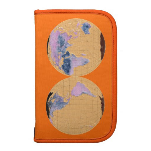 MapRef Double-Sphere World Map Brown v2 - Orange