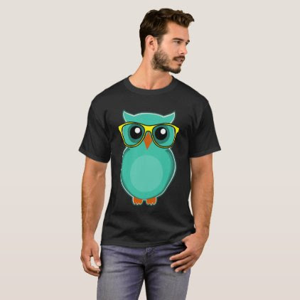 OWL WEARING EYEGLASSES, Funny Owl Hipster T-shirts