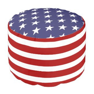 United States Of America USA Flag Round Pouf
