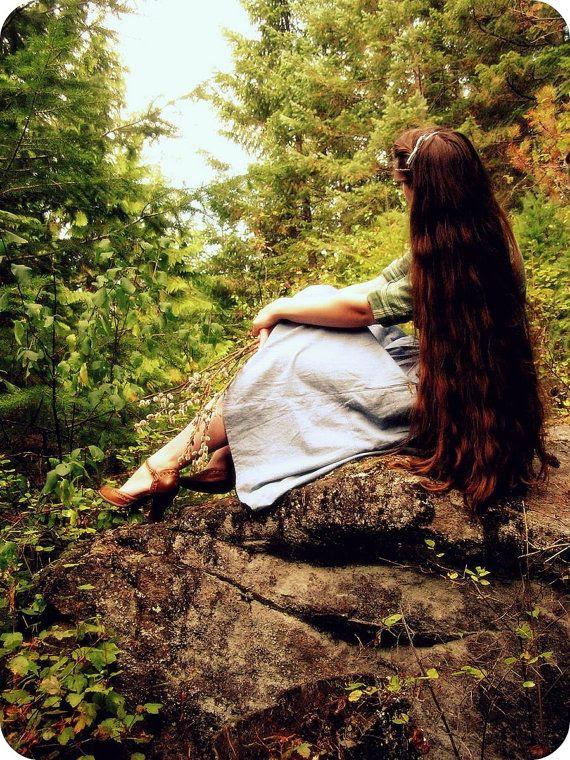 Gathered High Waist Denim Skirt - Walk In The Woods