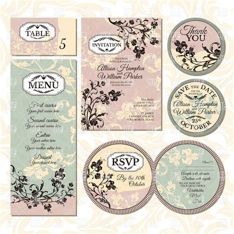 Set of vintage wedding cards with floral elements