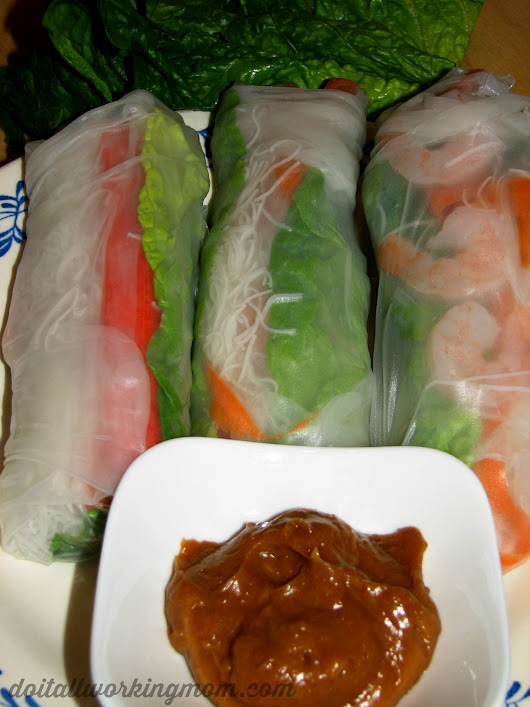 Shrimp Spring Rolls With Peanut Sauce - Do It All Working Mom