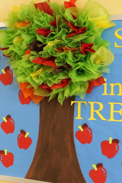 """""""tree-mendous"""" apple tree with tissue paper ~ cute!"""