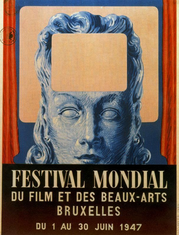 Poster of International festival of cinema and fine arts in Brussels (1947), 1947 Rene Magritte