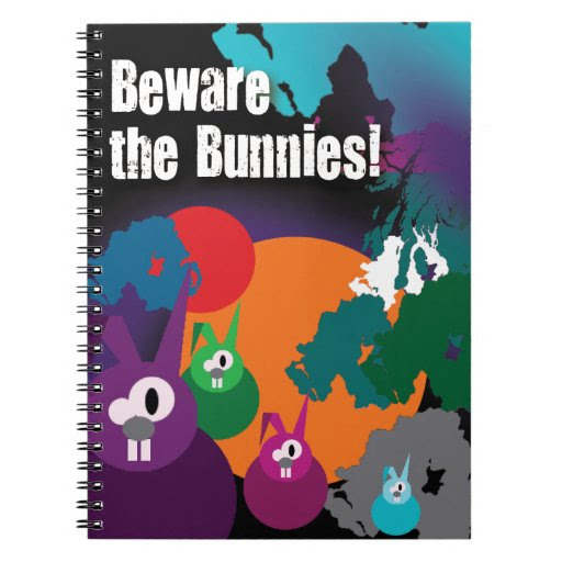 Psychedelic 'Beware The Bunnies' A5 Notebook