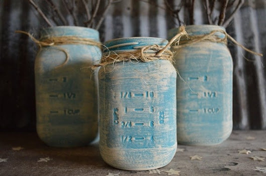 Boho Chic Style Turquoise Vintage Painted Glass Jars by JuliBecker