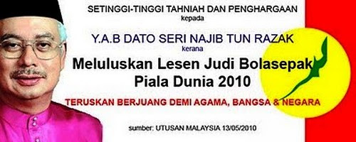 Tahniah Najib Luluskan Lesen Judi Bola