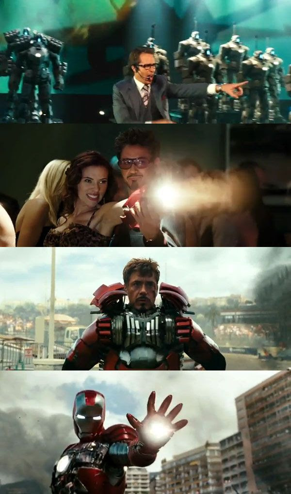 Screenshots from the IRON MAN 2 theatrical trailer.