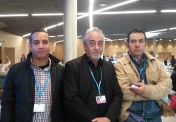 De izquierda a derecha, Bernis Trejos, Jorge Cabrera y Alejandro Alemán, en Bonn (Alemania).