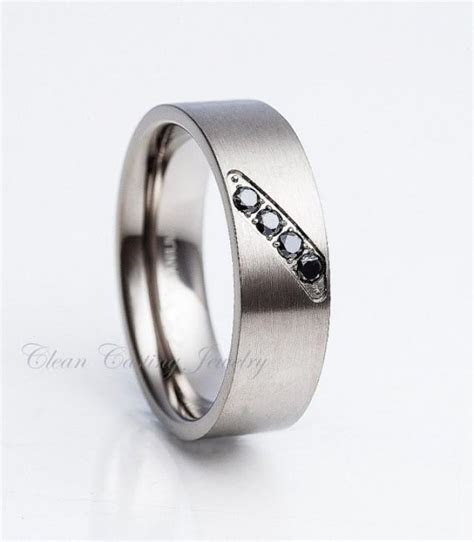 Men's Black Diamond Titanium Ring Titanium Wedding Band