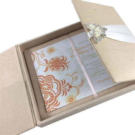 Large Hand Crafted Linen Box For Wedding Invitation Cards
