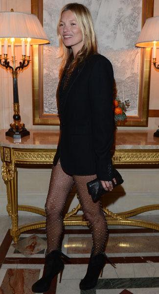 Kate Moss wearing sheer hosiery as pants?