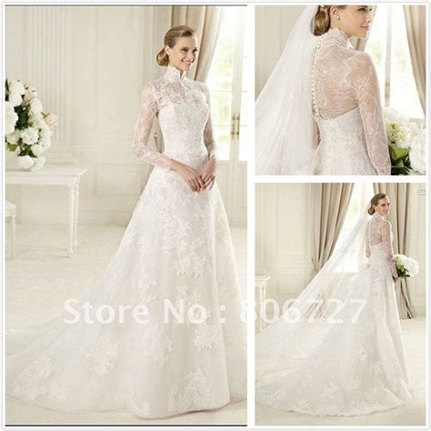 Elegant High Neck Lace A line Long Sleeve Wedding Gowns US