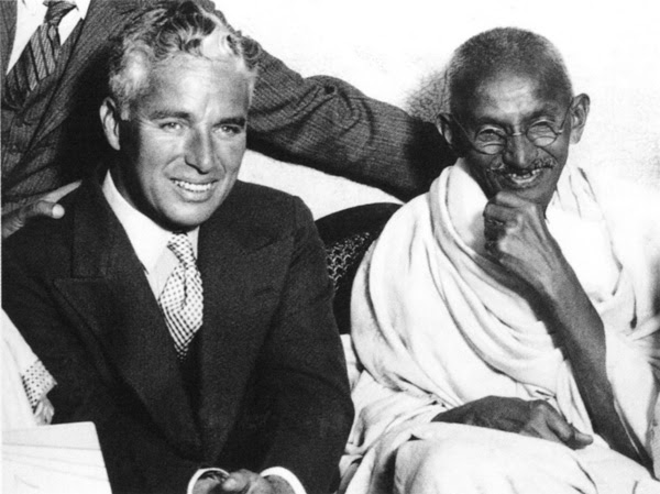 Charlie Chapling and Gandhi