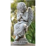 Roman Joseph's Studio Praying Cherub Angel on Pedestal Outdoor Garden Statue, Gray