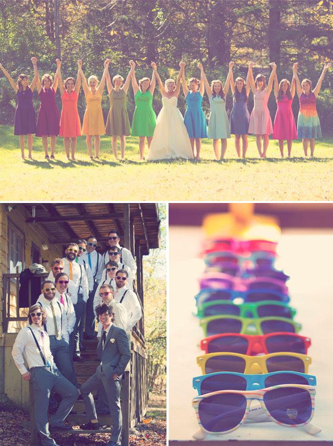 rainbow bridesmaids dresses