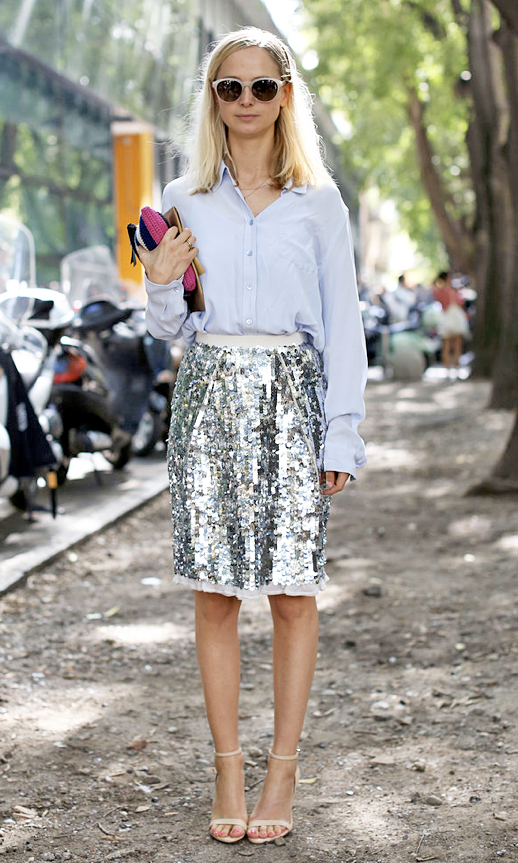 LE FASHION BLOG STREET STYLE SEQUIN SKIRTS JENNIFER DIXON NUDE WHITE SUNGLASSES LIGHT BLUE CLASSIC BUTTON DOWN SHIRT SEQUIN SKIRT PAILLETTE SKIRT MID LENGTH KNEE LENGTH NUDE ANKLE STRAP HEEL PUMP SANDALS FASHION WEEK MILAN STREET STYLE photo LEFASHIONBLOGSTREETSTYLESEQUINSKIRTSJENNIFERDIXON.png