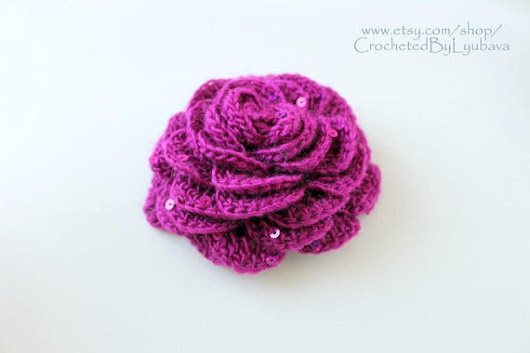 Purple Rose Flower Crochet Brooch  Handmade Flower Brooch