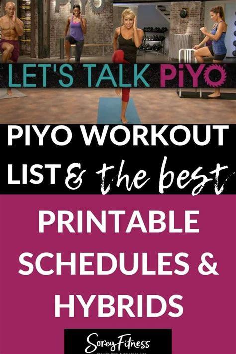 piyo calendar  full  day schedule workout list