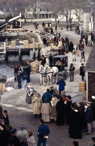 """Filming of """"Amistad"""" at Mystic Seaport, 1997."""