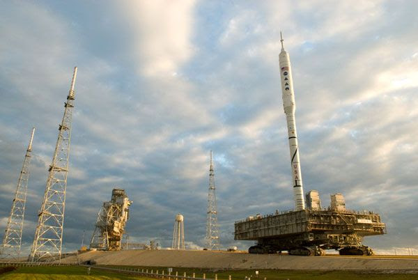 The ARES I-X rocket approaches Launch Complex 39B at NASA's Kennedy Space Center in Florida, on October 20, 2009.