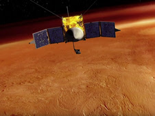 MAVEN spacecraft orbiting Mars