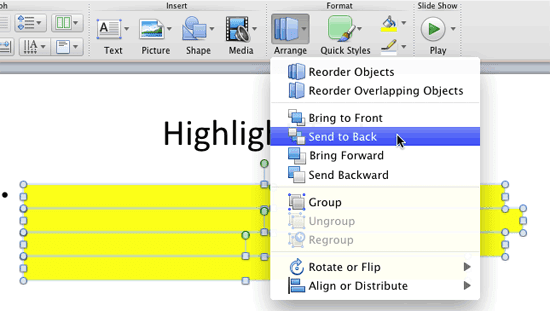 Fake Highlight Text in PowerPoint 2011 for Mac
