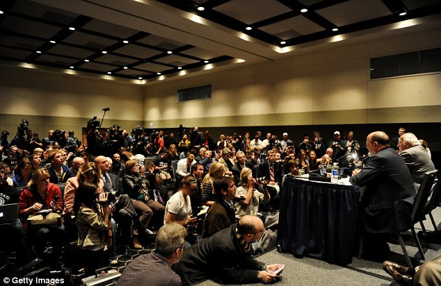 Conference: Steve Garban (left) and John Surma (right) announce that Penn State president Graham Spanier and football head coach Joe Paterno have been fired during the Penn State Board of Trustees meeting
