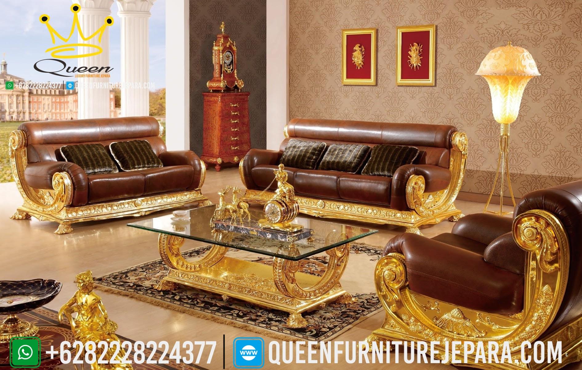 Set Kursi Sofa Ruang Tamu Mewah Italian Gold Ukiran Jepara Queen