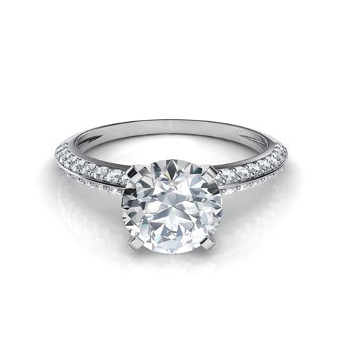 Two Row Knife Edge Pavé Diamond Engagement Ring