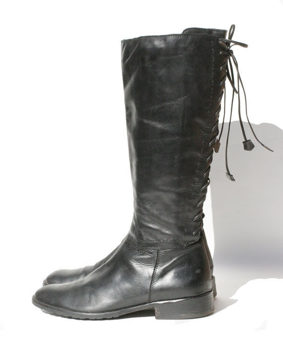 size 9 black leather riding boots