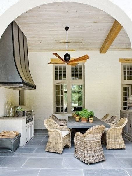 outdoor kitchen on poolhouse veranda