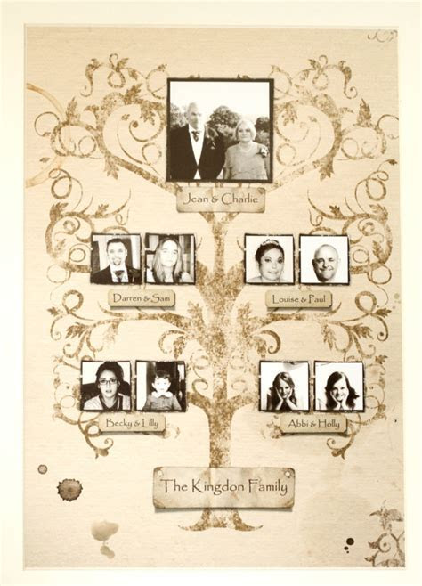 Large Personalised vintage style framed family tree   With