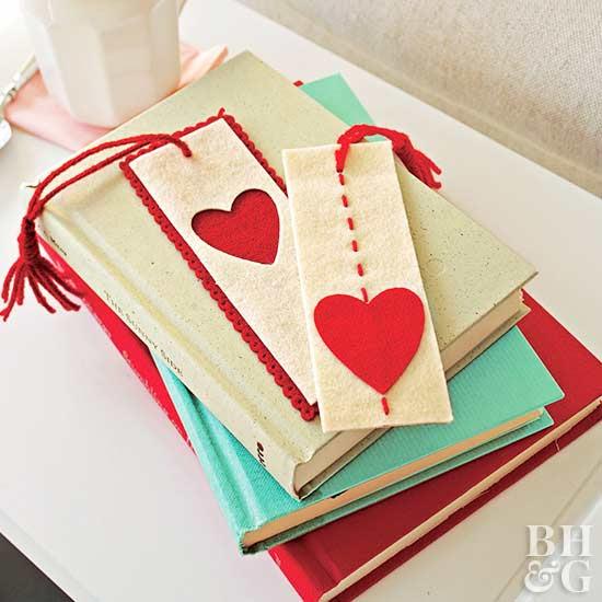 Felt Heart Bookmark