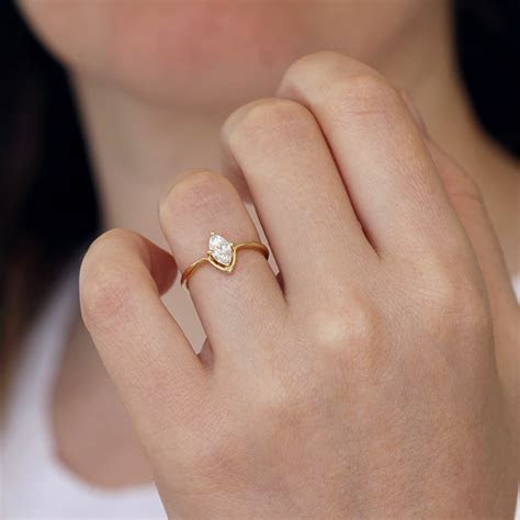 Marquise Engagement Ring   Minimalist Engagement Ring