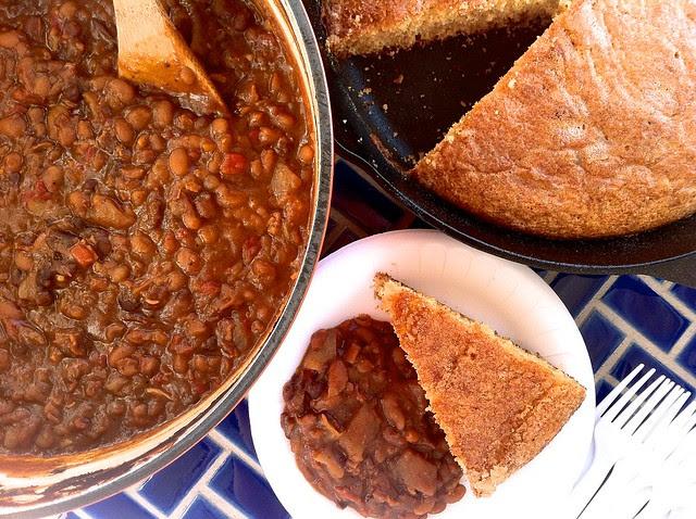 Homemade Baked Beans, Closeup